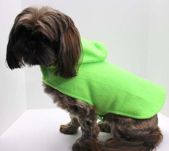 Day Glow Dog Hoodie, Fluorescent Green Lightweight Fun Fleece dogs jacket coat