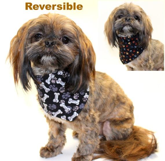 Reversible Dog Bandana, Lightweight Cotton Dog Bones Reversible to Multi Color Heart Shape Paw Print