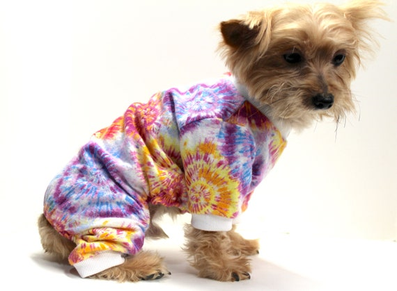 Flannel Dog Onesie Pajamas, Tie Dye - Cute Dogs Onesies