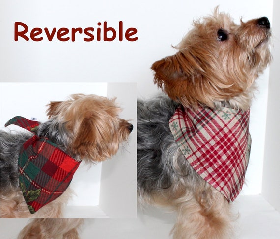 Christmas Dog Bandana, Red Green Plaid Reversible Holiday Bandanas Dogs