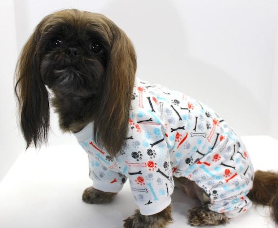 Dog Onesie Pajamas, Paw Print Dog Bone Print, White Flannel