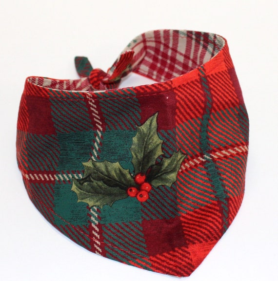 Christmas Dog Bandana, Small, Plaid Country Holiday