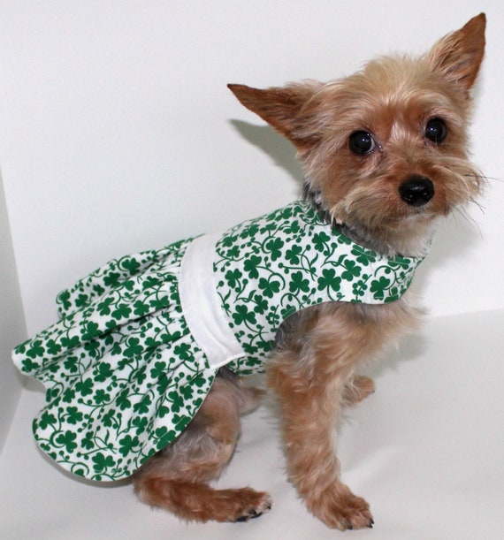 Green Clover Dog Dress, Size Small Fun Cotton Dog Dress
