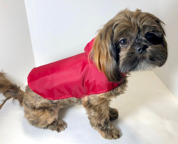 Dog Windbreaker Jacket, size XS Red or Yellow Nylon Dogs Hoodie