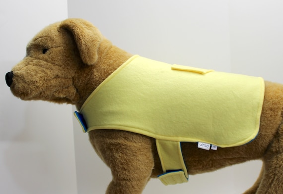 Dog Coat Jacket, 2X Lg Double Blue Yellow Fleece, Reversible