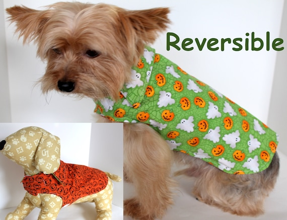 Halloween Dog Shirt, Fun XS Pumpkins Ghosts Reversible Fancy Dogs Wrap, In Stock fashion dog clothes
