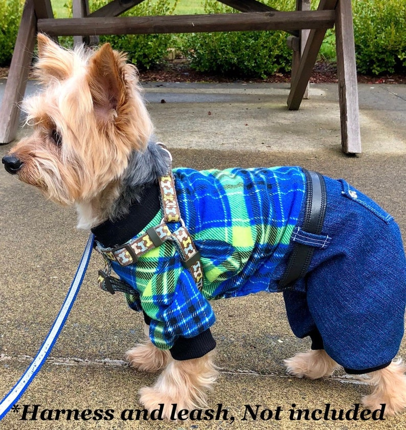 5779120b9635 Dog Pajama Onesie Plaid Top Denim Bottom Onesies for Dogs