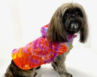 Dog Hoodie, Orange Purple Tie Dye fleece dogs jacket coat