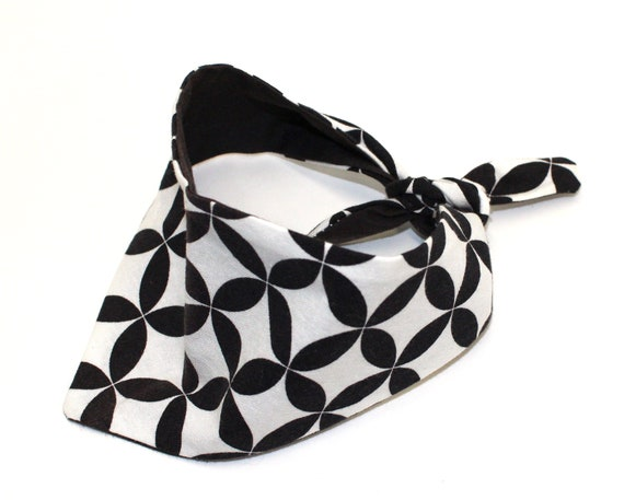 Dog Bandana, Small, tie-on Black White Geometric Design, Fashion Pet by Whirly Dog Supplies