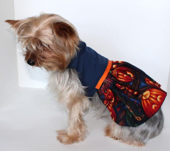 Halloween Dog Dress, XS and S Jack-O-Lantern skirt with Blue/Navy Bodice dresses for dogs