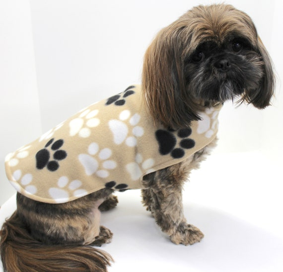 Dog Coat Jacket, Double Fleece Dogs Sweater, Straw Tan with Paw Prints