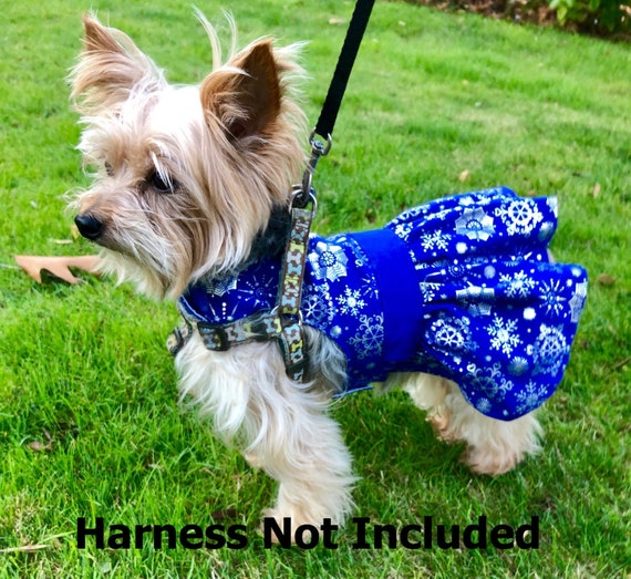 Winter Dog Dress, XS Blue with Silver Snowflakes Dress for Dogs, Christmas, designer fashion dog clothes