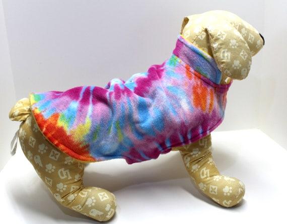 Dog Coat Jacket, Tie Dye and Yellow Double Fleece Reversible Warm Wrap