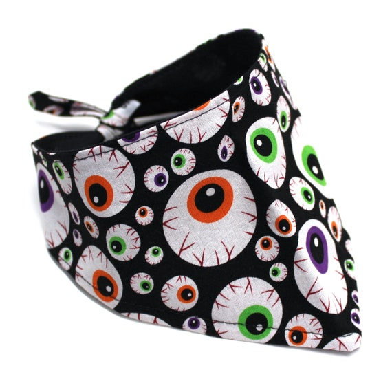 Dog Bandana, Black with Eyeballs Pattern Lightweight Cotton