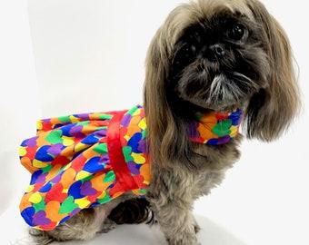 Dog Dress, Rainbow Hearts