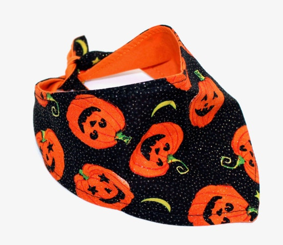 Halloween Dog Bandana, Small, tie-on Jack O Lantern, Black and Orange Dog fashion