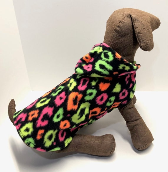 Day Glow Dog Coat Animal Print Fleece Hoodie