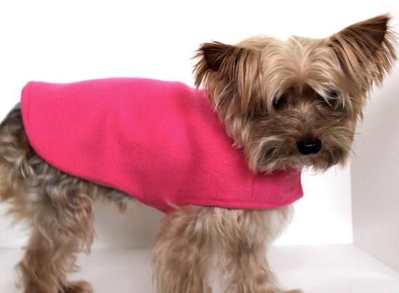 Pink Dog XS Sweater Coat Wrap, Warm Fleece reversible dog clothing
