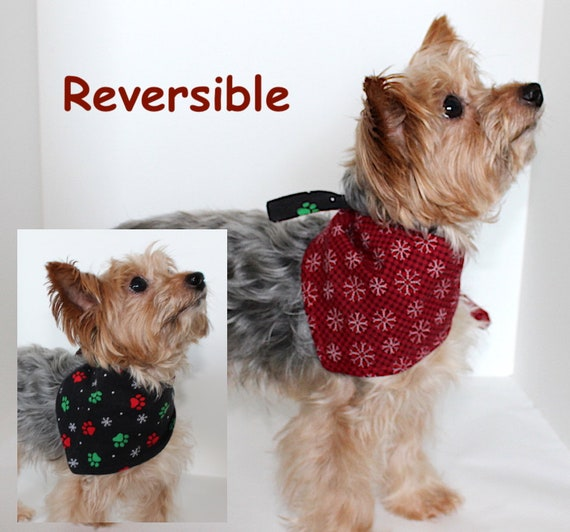 Holiday Dog Bandana, Reversible Christmas Paw Print, Snowflakes, Bandanas Dogs