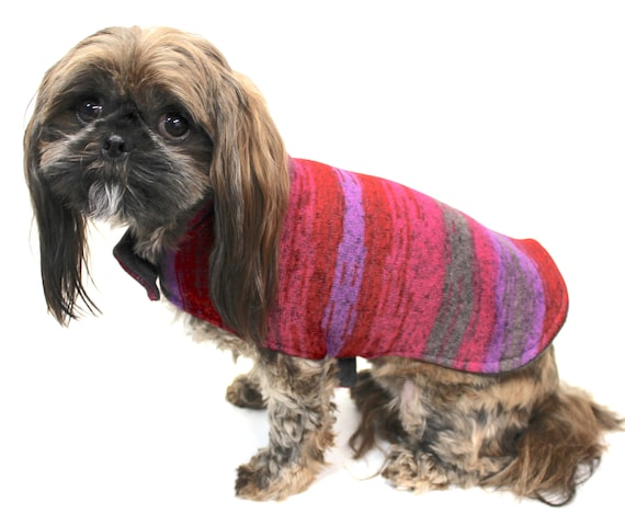 Warm Dog Coat Jacket, Knit Sweater reversible to Charcoal Gray Fleece