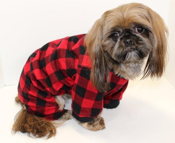 Flannel Dog Onesie Pajamas, Red Black Plaid Dogs Onesies