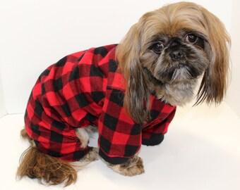 Dog Onesie Pajamas, Red Black Plaid Lightweight Flannel