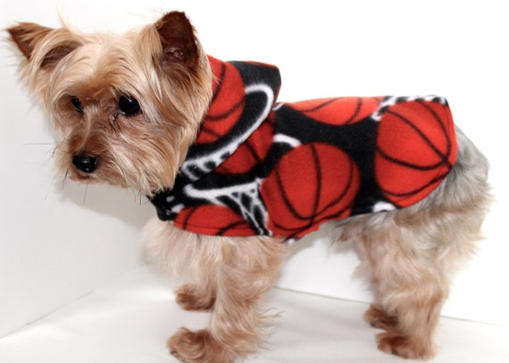 Basketball Dog Hoodie, Size Small Sports Theme Lightweight Fleece dogs jacket coat