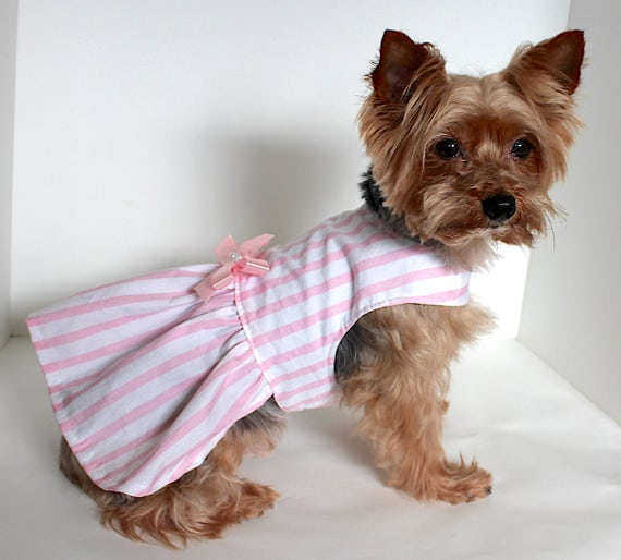 Pink Stripe Dog Dress, S M L Pretty Pink and white stripe Dresses for Dogs