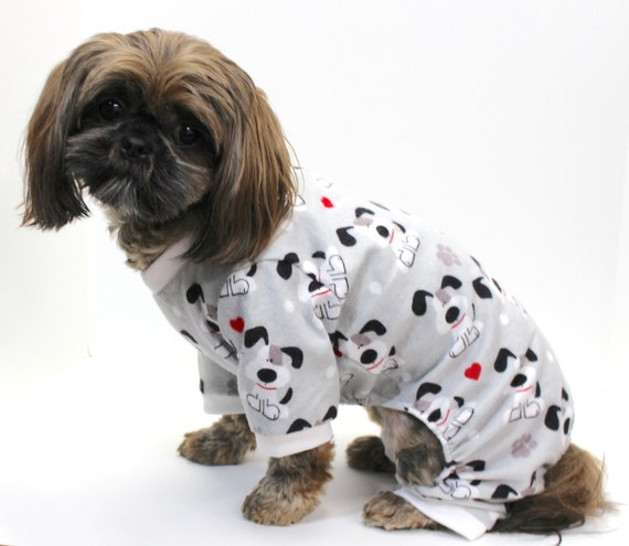 Flannel Dog Onesie Pajamas, Cartoon Dogs, Grey Onesies