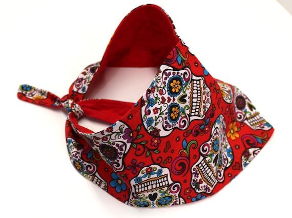 Dog Bandana, Red White Multi Color Sugar Skull Bandanas for Dogs