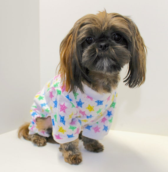 Flannel Dog Onesie Pajamas, Multi Color Stars Adorable Onesies