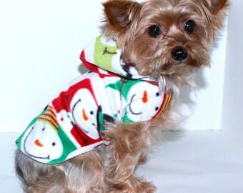 Dog Hoodie, Snowman Holiday fleece dogs jacket coat