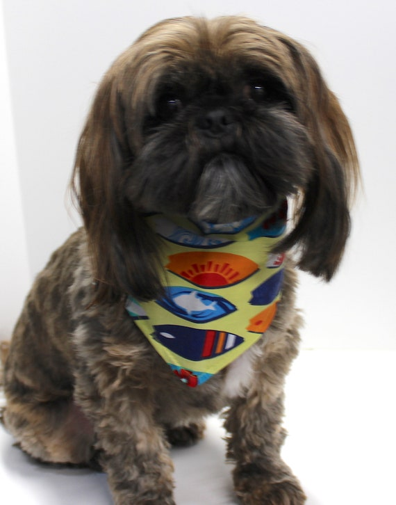 Dog Bandana, Reversible Surf Board, Plant Print, Tie On Dogs Bandanas