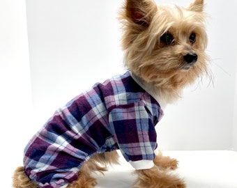 Dog Onesie Pajamas, Purple Gray Plaid Lightweight Flannel