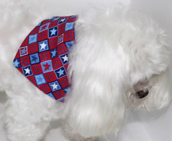 Sale: Dog Bandana, Small, tie-on Americana Red White Blue Stars Bandanas for Dogs