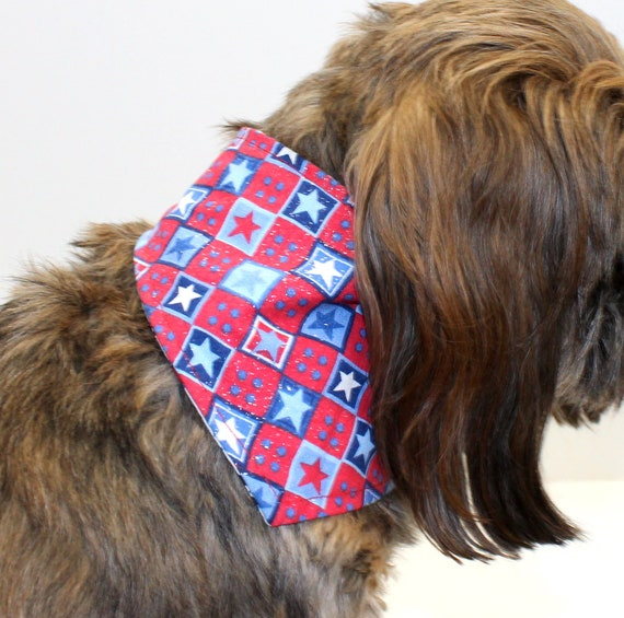 Patriotic Dog Bandana, Small, tie-on Americana Red White Blue Stars