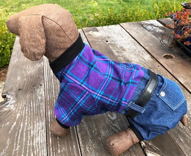 Dog Pajama Onesie Plaid Top Denim Bottom Onesies for Dogs