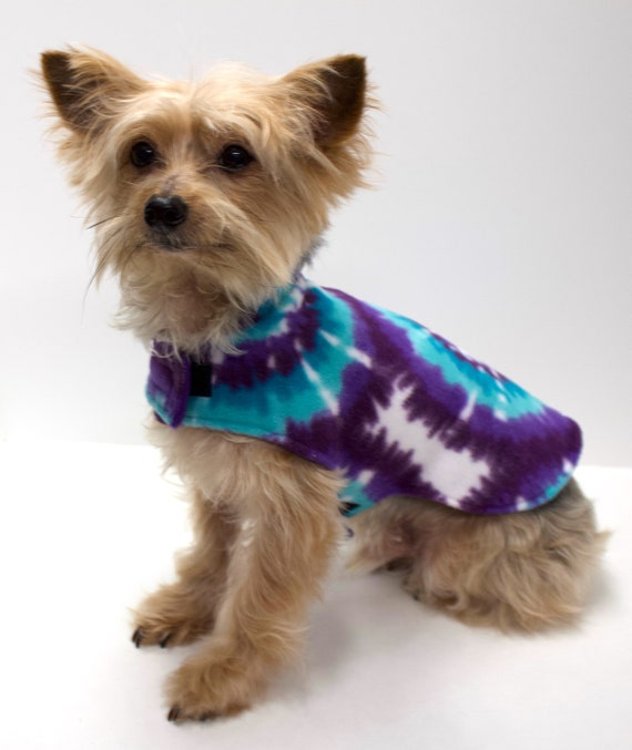 Dog Coat Jacket, Double Fleece Tie Dye Teal Purple White