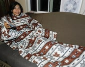 Brown Snuggie with Snowflakes Native American Print