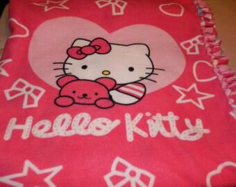Hello Kitty Tie Blanket W/ Pink Contrast