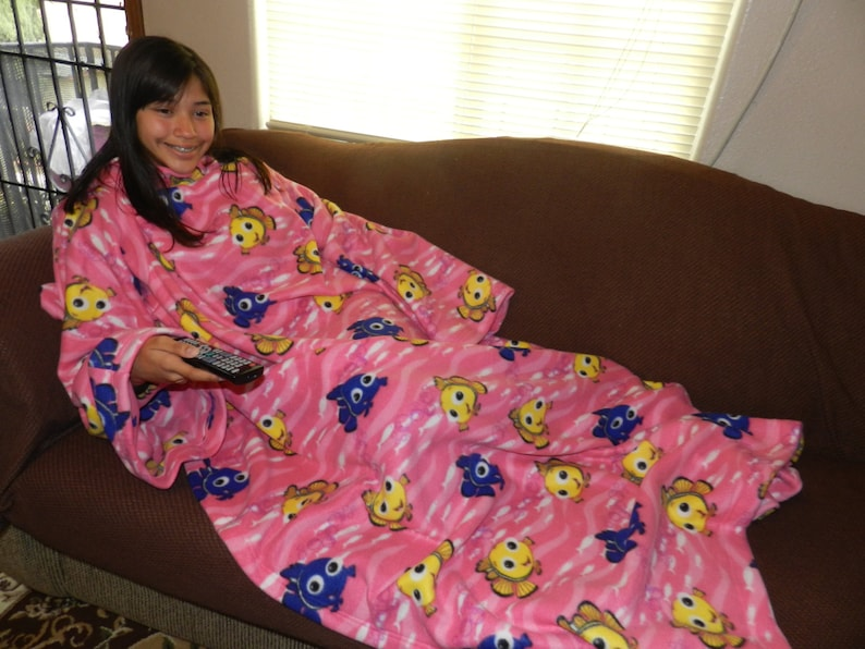 Pink Clown Fish Snuggie Fleece Blanket with Sleeves Fish  466ad71fa