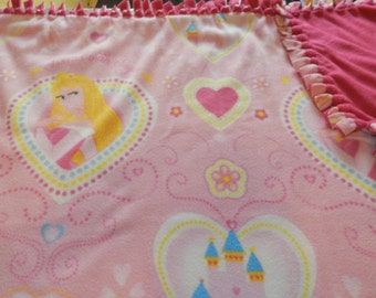 Aurora Princess, Castle and Hearts Pink Fleece Ties Blanket