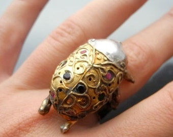 Beetle ring - silver gold plated ring, rubies, garnets, insect ring, art nouveau jewelry, rekami stworzone, exclusive jewelry, statement rin