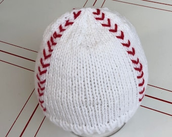 Play ball- 6 month knit baseball hat- ready to ship photo prop- 6 month boy