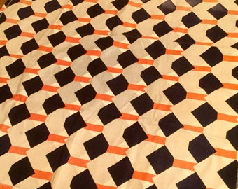Geometric Table Topper, Square Flannel, Orange & Blue Graphic