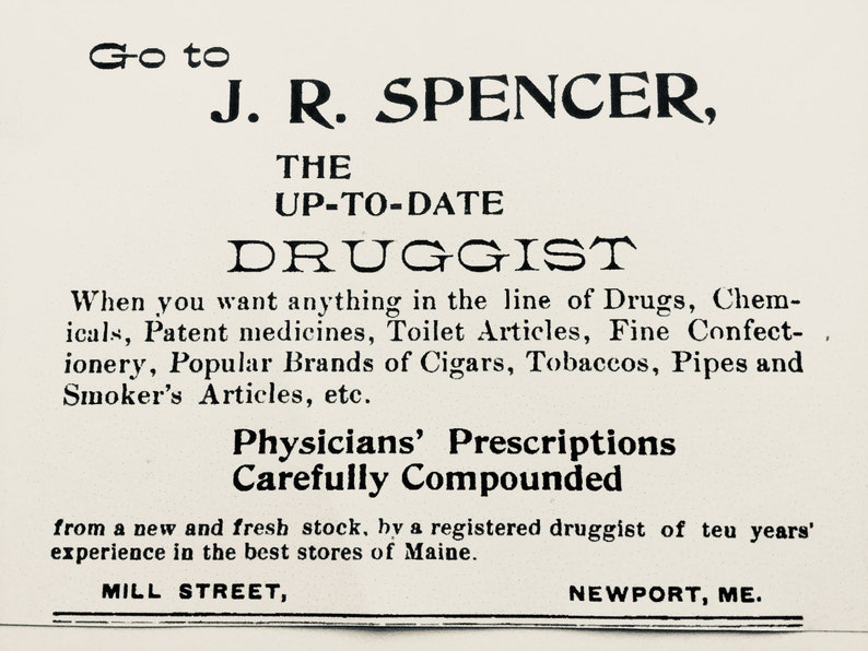 J R Spencer Druggist Newport ME Embossed Prescription