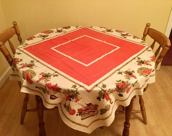 "Square Linen Tablecloth 50"" w/ Red Printed Summer Fruit, 70s Ecru"
