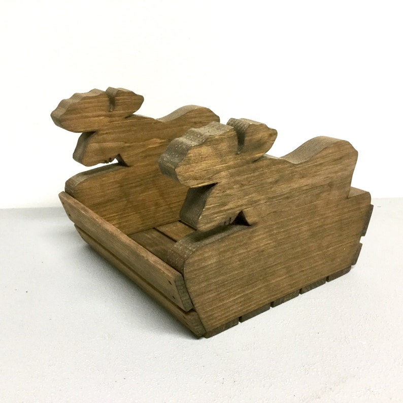 Maine Moose Planter Vintage Hand Made Rustic Pine Wood Napkin Holder