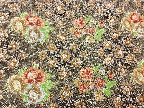 Jay Yang Fabric 70 S Screen Print 1 Yd Asian Floral Etsy