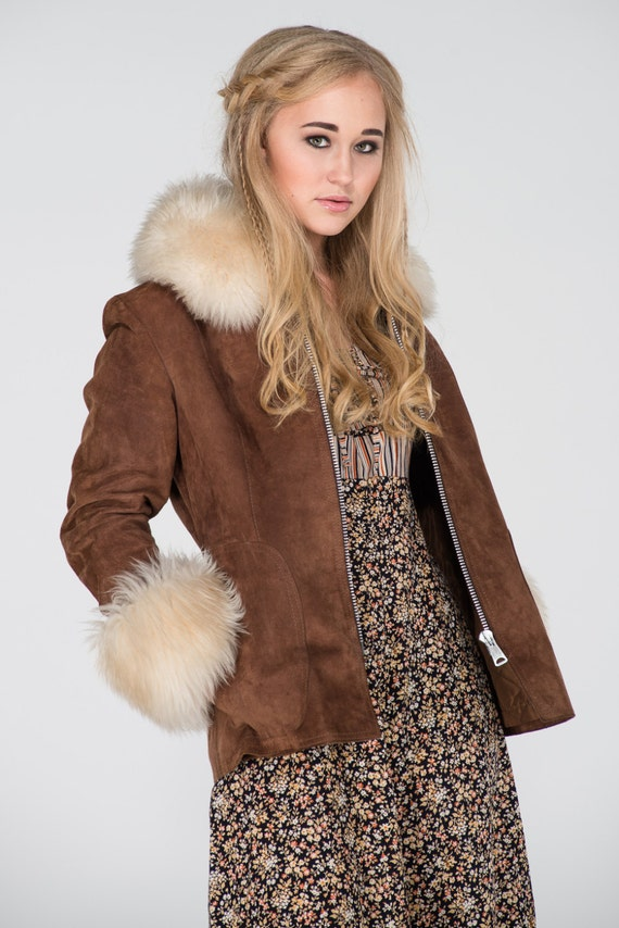 Vintage 1970s Penny Lane Suede and Shearling Jacke